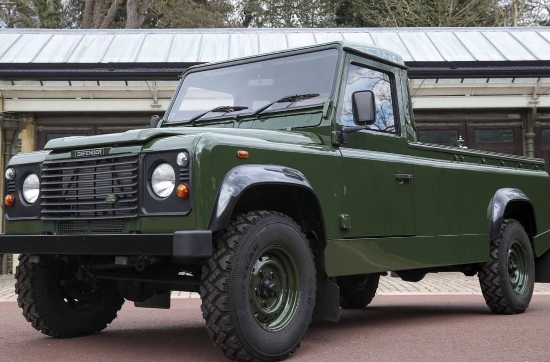 Funeral hearse a modified Land Rover Defender symbolising pioneering Britain
