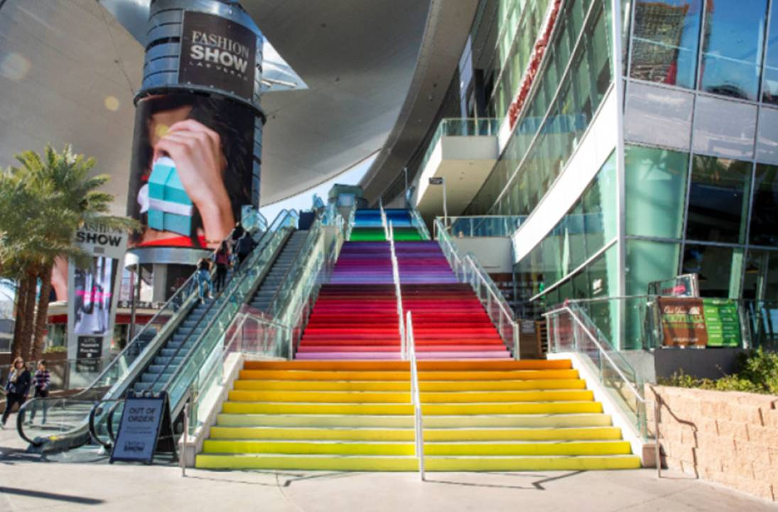 "Fashion Show Las Vegas Reveals Rainbow Mural Installation, ""Colors That Speak to a United City,"" on Plaza Staircase"